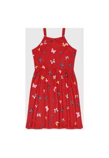 Vestido Rovitex Infantil Borboletas Vermelho