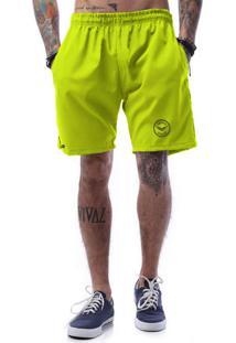 Bermuda Tactel Neon Cellos Seal Premium Verde Limão