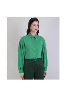 Camisa Feminina Mindset Ampla Manga Bufante Verde