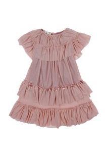 Vestido Midi Em Tule Infantil Menina Fredie Mon Petit Rose