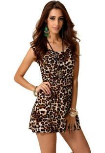 Vestido Criativa Urbana Leopardo Oncinha Animal Print - Feminino