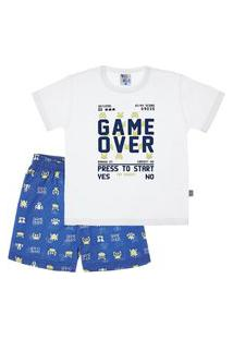 Pijama Branco - Primeiros Passos Menino Meia Malha 42656-3 Pijama Branco - Primeiros Passos Menino Meia Malha Ref:42656-3-3