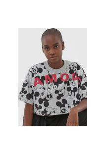 Camiseta Cropped Colcci Disney Mickey Famous Cinza