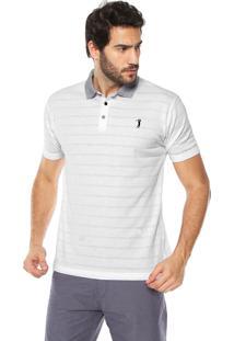 Camisa Polo Aleatory Reta Textura Branca dd330e657e577