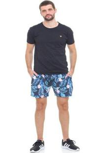 Bermuda De Praia Tactel D'Affari - Floral Masculina - Masculino-Azul Escuro