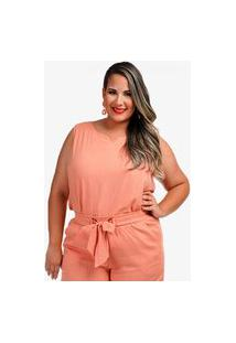 Camiseta Linho It Plus Size Coral D'Laport