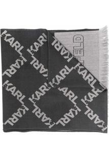 Karl Lagerfeld Cachecol De Tricô Com Logo - Cinza
