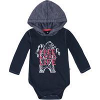 Body Bebê Menino Manga Longa Com Capuz Puc       af2c494a6d9