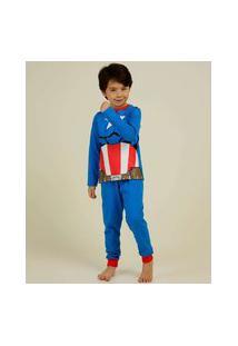 Pijama Infantil Capitão América Marvel Tam 4 A 12