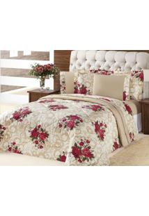 Kit Edredom (Edredom + Jogo De Cama) Queen Murano Bouquet Vermelho Flores Vermelhas Com 7 Peças - Aquarela