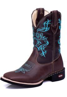 Bota Country Masculina Texana Bico Quadrado Cano Longo Couro