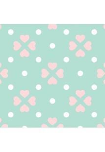 Papel De Parede Corações- Verde Claro & Rosa- 300X0,Jmi Decor