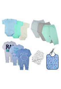 Kit 13Pç Roupinha De Bebê Masculino Feminino Enxoval Lindo Azul