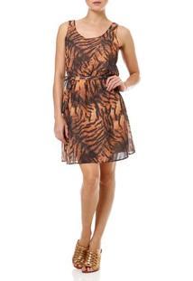 Vestido Curto Feminino Animal Print Laranja