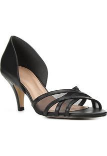 Peep Toe Couro Shoestock Tela Salto Médio - Feminino-Preto