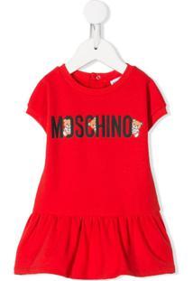 Moschino Kids Vestido Godê Com Estampa De Logo - Vermelho