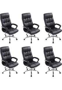 Conjunto Com 6 Cadeiras De Escritório Presidente Marjo Preto