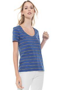 Camiseta Lacoste Listrada Azul