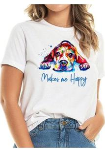 T-Shirt Beagle Happy Buddies Feminina - Feminino-Branco