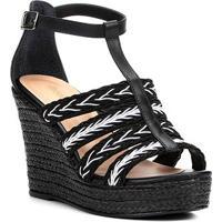 6da38c5c4 Sandália Plataforma Couro Shoestock Tranças Feminina - Feminino-Preto+Branco