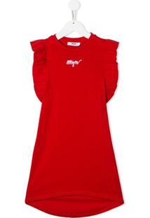 Msgm Kids Vestido Com Logo Contrastante - Vermelho
