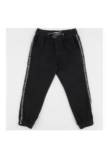 Calça Jeans Infantil Jogger Com Bolso Preta