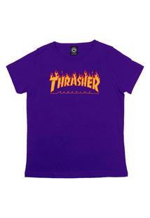 Camiseta Thrasher Magazine Flame Logo Feminina Roxa
