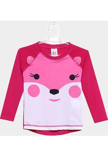Camiseta Infantil Tip Top Manga Longa Estampada Feminina - Feminino-Rosa Escuro