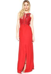 Vestido Cantão Longo Bordado Vermelho