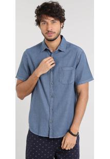 Camisa Masculina Texturizada Com Manga Curta Azul