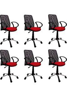 Conjunto 6 Cadeiras De Escritório Tela Diretor Giratória Cromada E Vermelha