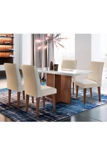 Conjunto De Mesa De Jantar Berlim Off White Com 4 Cadeiras Grécia Veludo E Café