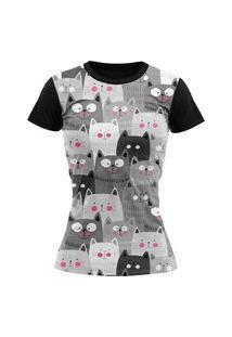 Camiseta Feminina Lucinoze Camisetas Manga Curta Gatinhos Preta