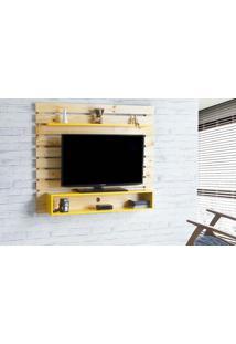 Painel Para Tv Standby - Estante Para Tv Até 60 Polegadas Natural E Amarelo - 135X23X115 Cm