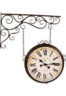 Relógio De Parede Decorativo Estação Ferroviária De Metal...