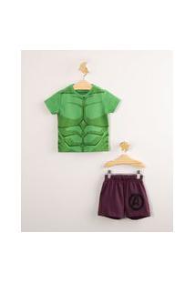 Pijama De Algodão Infantil Hulk Os Vingadores Manga Curta Verde