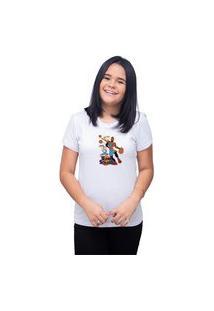 Camiseta T-Shirt Feminina Personalizada Space Jam Looney Tunes - Branco