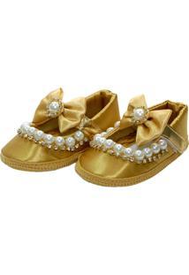 Sapatilha Pérolas E Strass Sapatinhos Baby Dourada