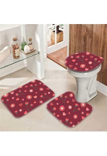 Jogo Tapetes Para Banheiro Florzinhas - Único