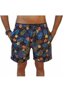 Bermuda Short Moda Praia Estampados Floral Relaxado Masculina - Masculino-Azul Escuro