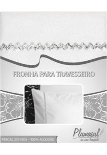 Fronha-Percal 233 Fios-Branca Com Sianinha Prata-50X90