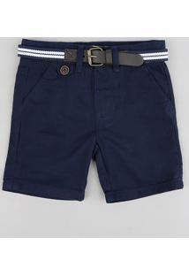 Bermuda Color Infantil Slim Com Cinto Azul Marinho