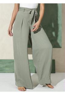 Calca Pantalona Com Cinto Verde