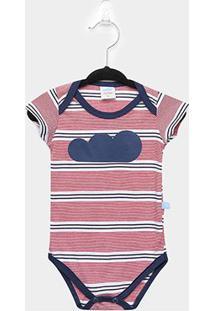 Body Infantil Marlan Bebê Listrado - Masculino-Vermelho