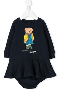 Ralph Lauren Kids Vestido Polo Bear Mangas Longas - Azul