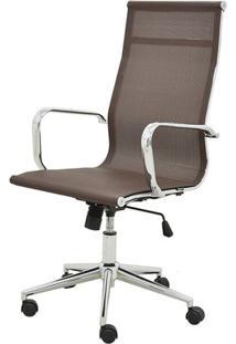 Cadeira Sevilha Eames Alta Cromada Tela Cafe - 38046 - Sun House