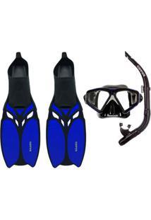 80a3fb797 Kit Mergulho Máscara+Nadadeira+Snorkel Cetus Shark - Unissex