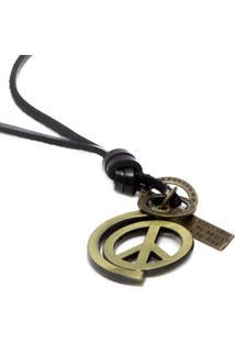 Colar Lovelee Acessórios Couro Preto Peace
