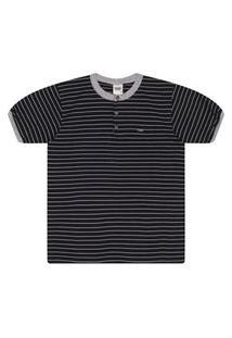 Camisa Duzizo Em Malha Listrada Preto