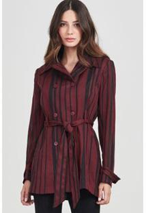 Casaco Alongado Rubinella Stripes Feminino - Feminino-Vinho